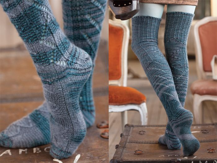 b5657381370 I might have to make these. Over the knee knit sock pattern ...