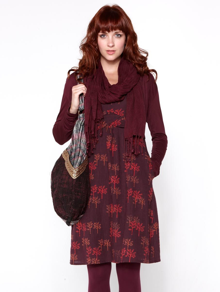 9bfeedddde6f Fair Trade Nomads Clothing Autumn Winter Outfits Casual Fashion Burgundy Red  dress, cardigan