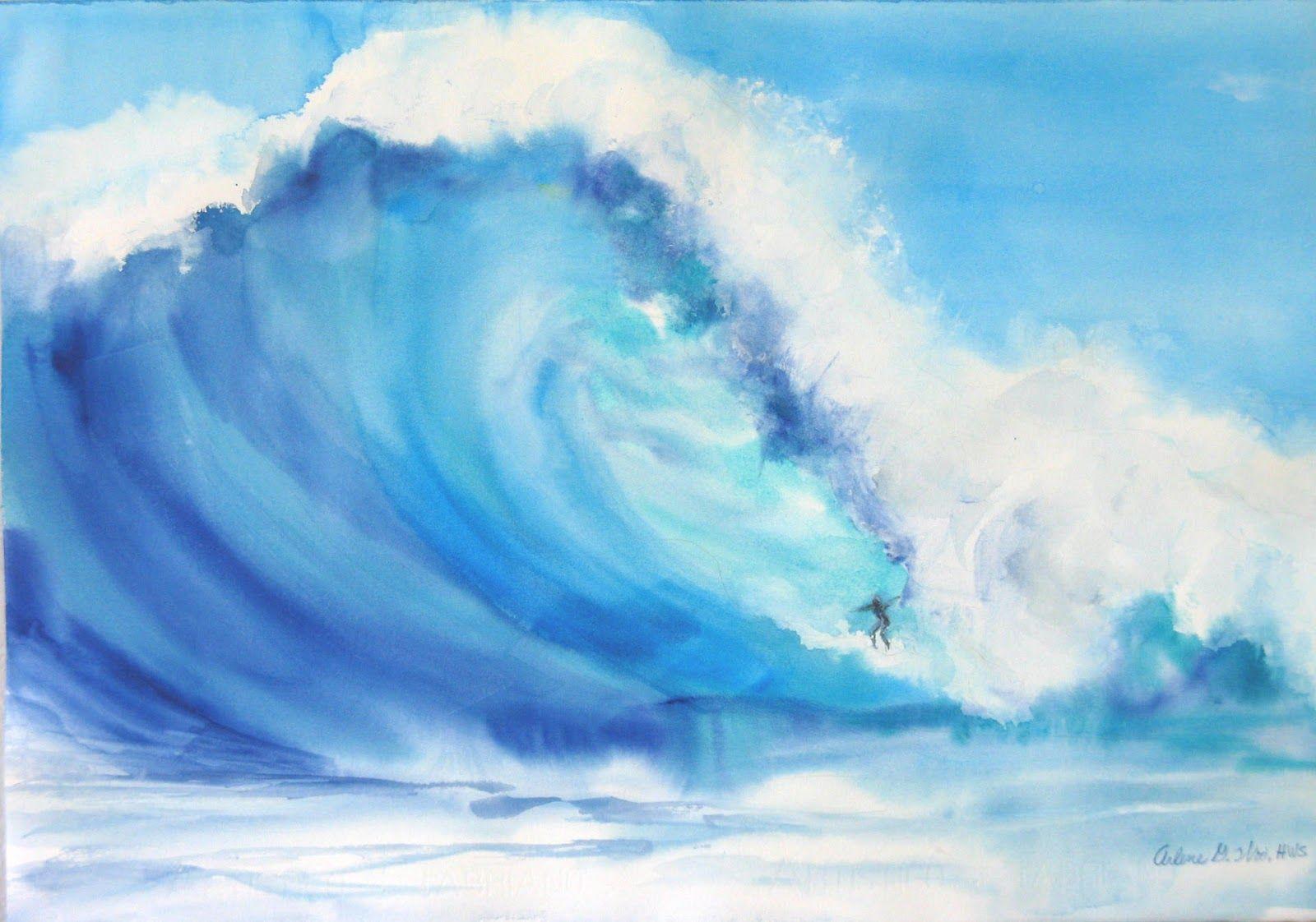 Watercolor   It's Big!, original wave watercolor   Art ...