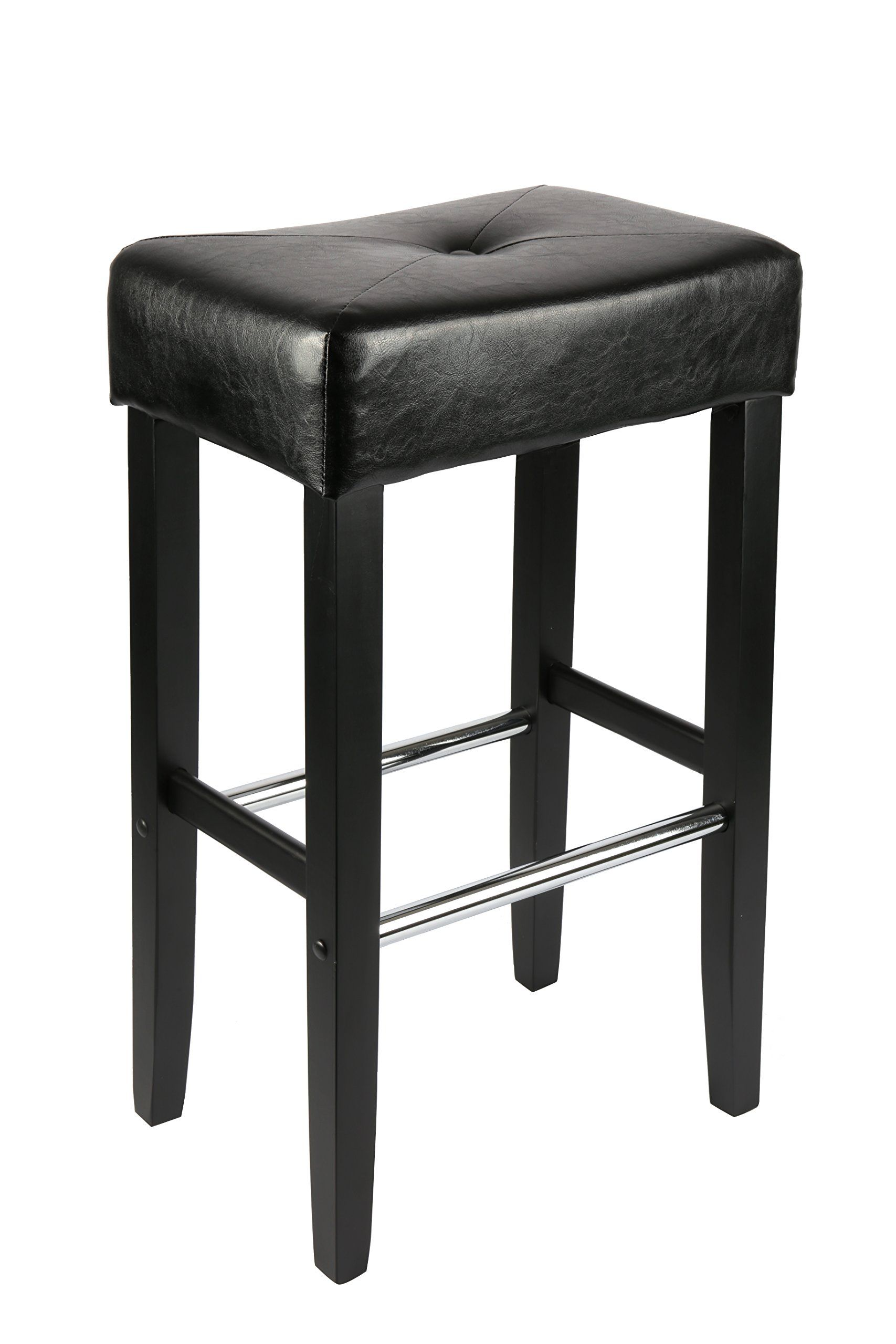 Lch Modern Bar Stool Backless Bonded Leather Pub Stools With Wood