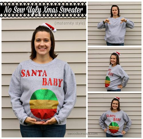 No Sew DIY maternity ugly christmas sweater Fun Times