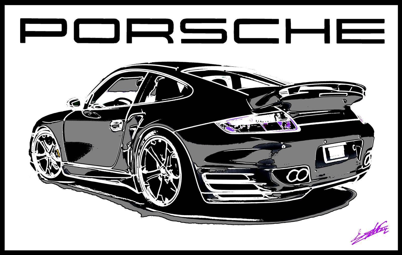 Tableau Porsche Turbo noir blanc peinture
