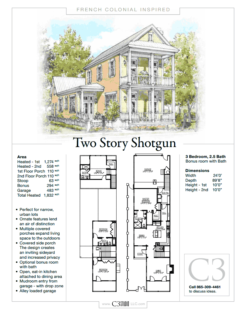 2 story shotgun house by c3 studio llc french colonial