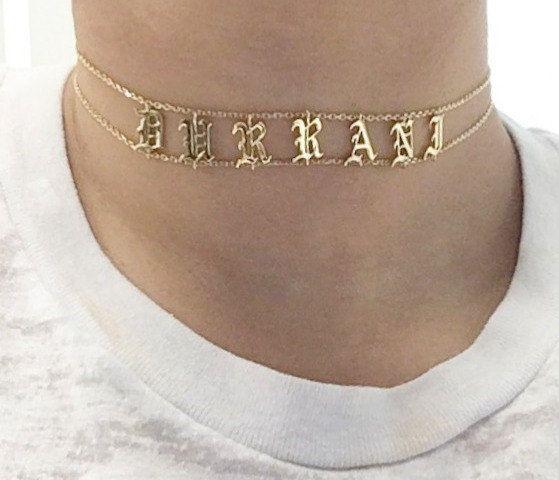 c46534b92cebf Name Choker, Choker Necklace, Personalized Choker Necklace, Custom ...