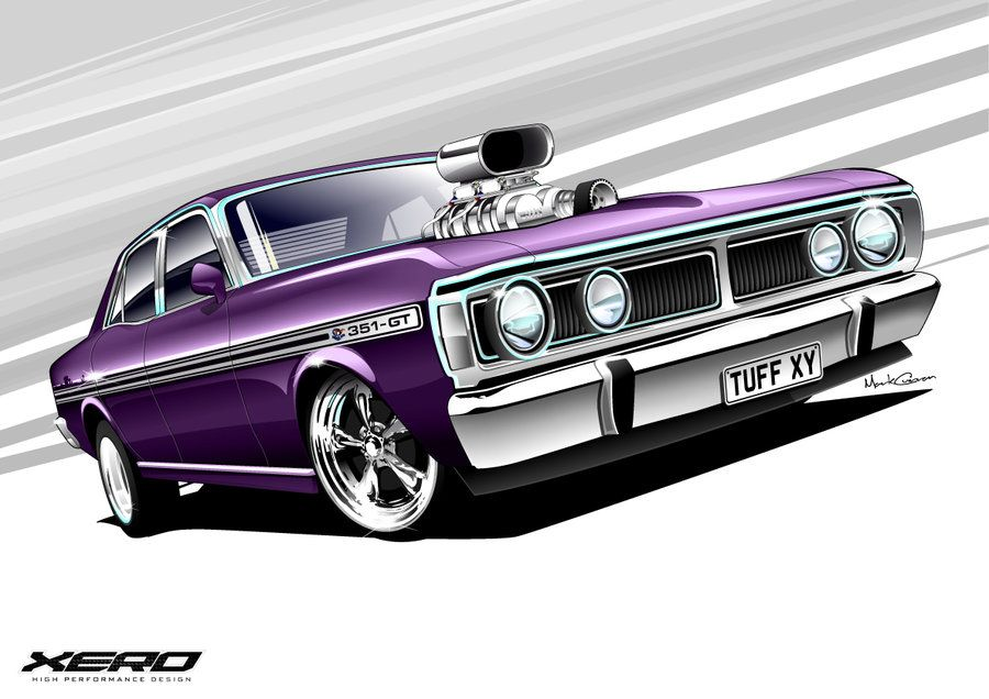 Ford Falcon Xy Gt 351 Car Man Cave Car Cartoon Classic Cars Muscle