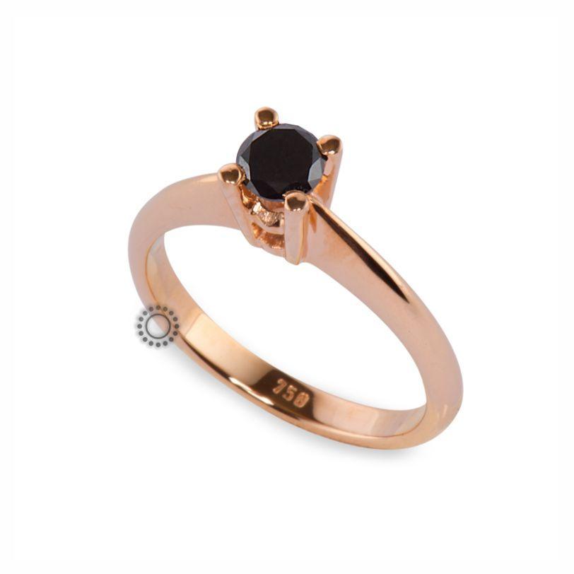 Μονόπετρο δαχτυλίδι από ροζ χρυσό Κ18 με μαύρο διαμάντι μπριγιάν  e7a3821040e