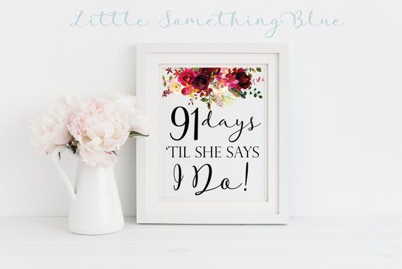 Bridal Shower Wedding Day Countdown Digital Sign Wedding