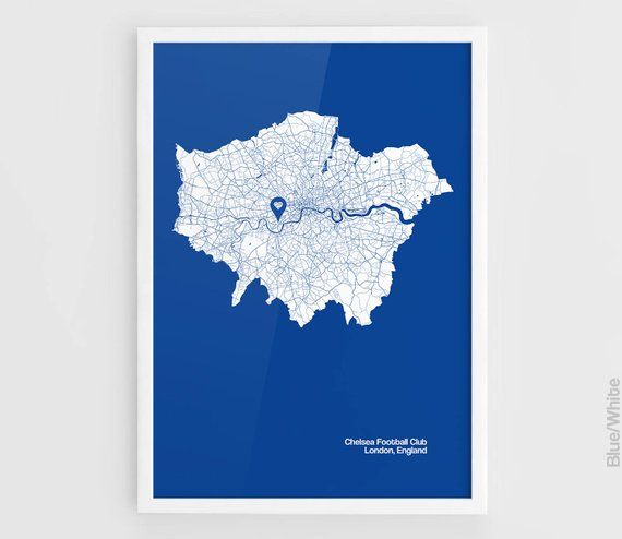 Chelsea Fc London City Map Print Stamford Bridge Stadium Football A3 Wall Art Print Poster Minima
