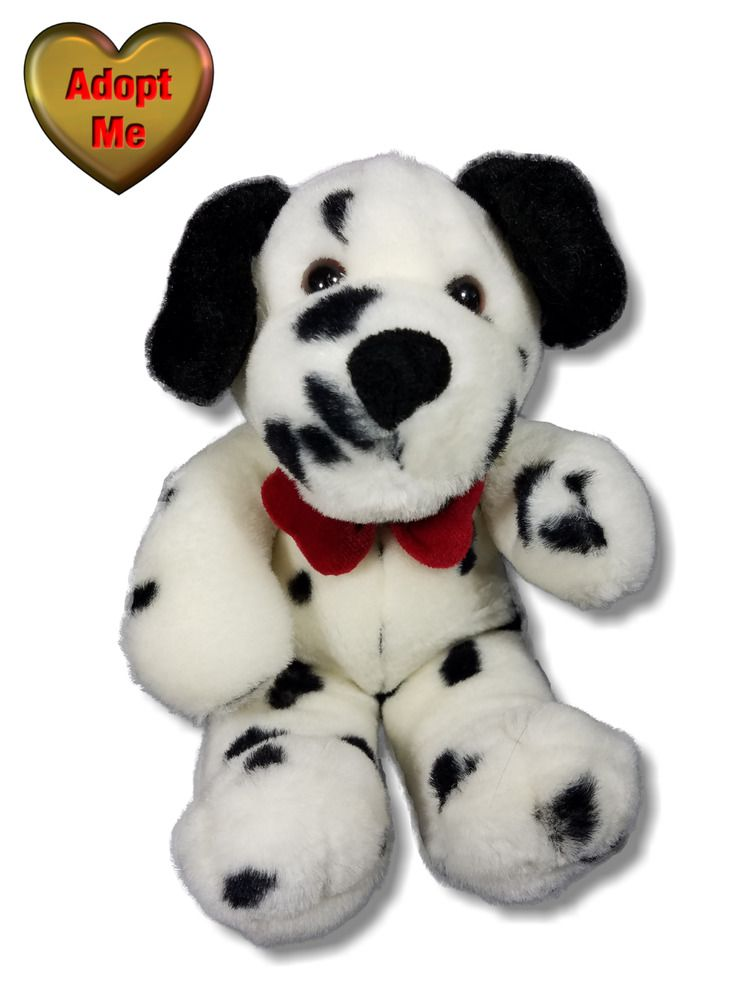 Dalmatian Dalmation Puppy Dog Wearing Red Bow Tie Stuffed Plush