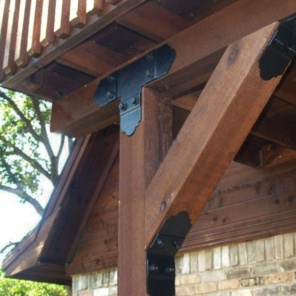 Owt Ornamental Wood Ties Tee Tie Plate Decorative Structural Wood Connector 56612 The Home Depot Ornamental Wood Wood Connectors Pergola