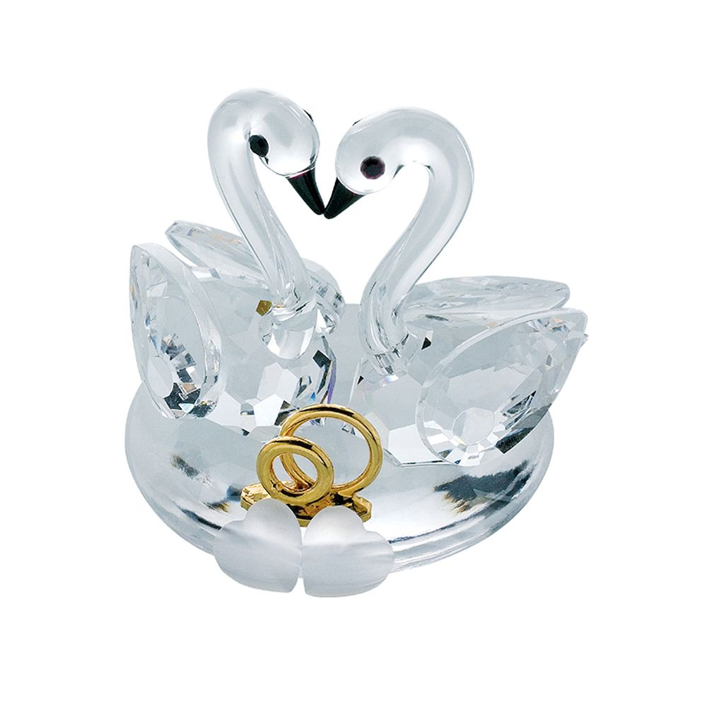 151df2925746 Preciosa Crystal Nuptial Swan Couple with hearts and gold rings ...