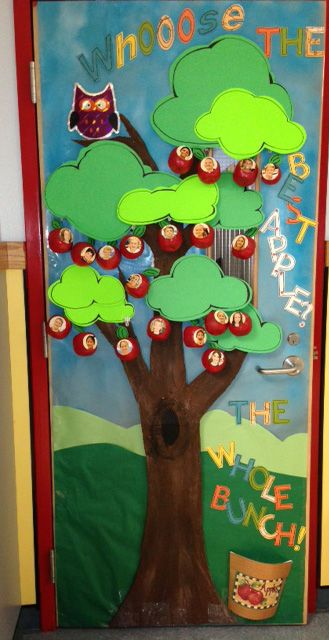 Owl and apple themed door/bulletin board decoration ...