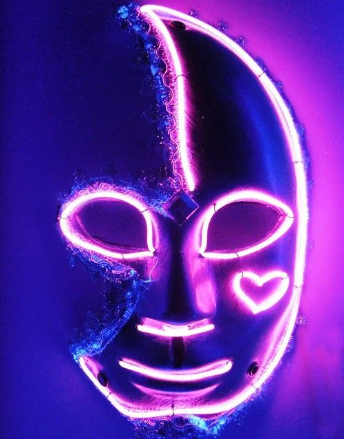 Light Up Neon Broken Heart LED El Wire Mask (Purple)   Products ...