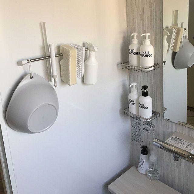 バス トイレ 詰め替えボトル Totoサザナ 引っ掛ける収納 モノトーン などのインテリア実例 2017 11 20 15 25 41 Roomclip ルームクリップ 浴室 収納 収納