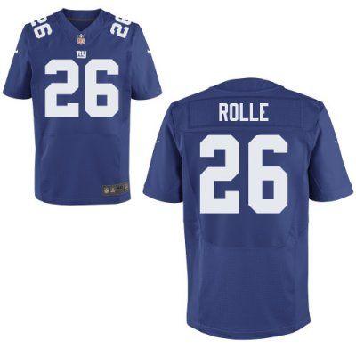 new nike giants 26 antrel rolle nike elite jersey blue team color nfl jersey