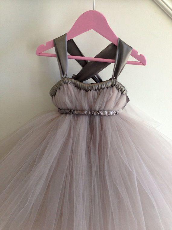 Grey tutu flower girl with crisscross straps NB12 by HadandHarps