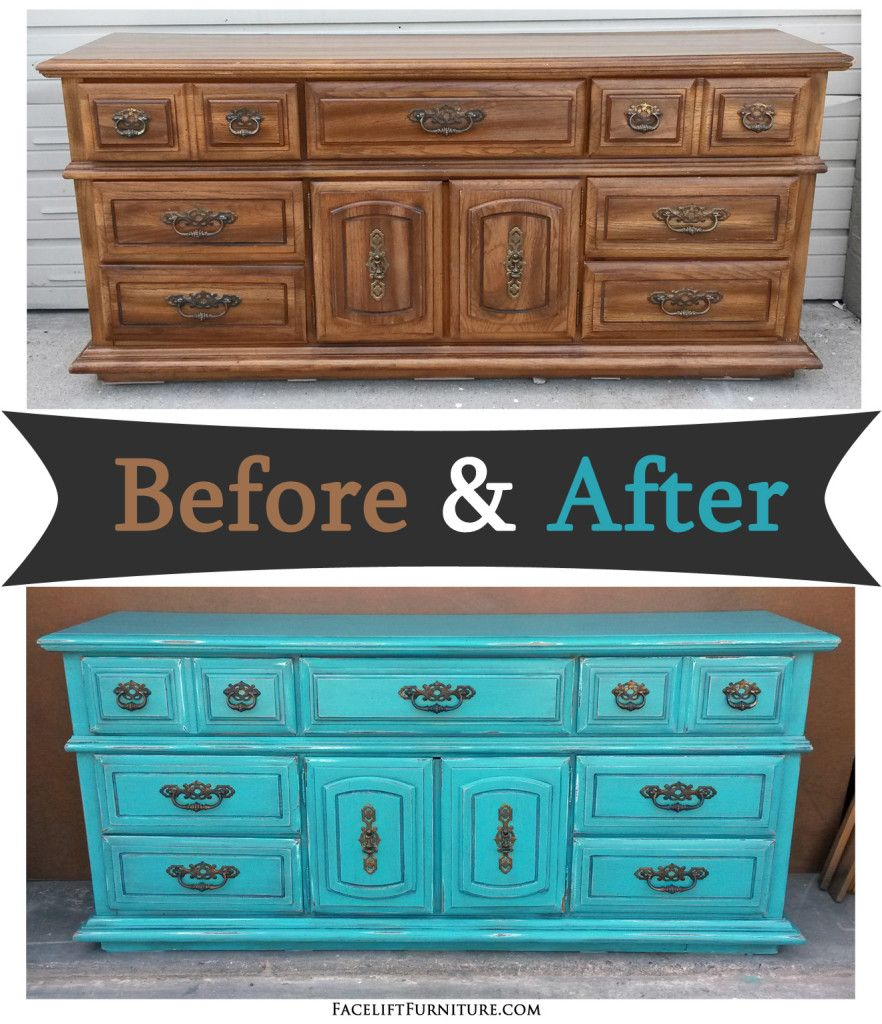 Materials Distressed And Glazed: Dresser In Distressed Turquoise & Black Glaze