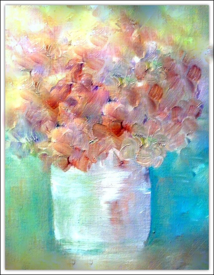 Hydrangea In Glass Vase By Betsy Leavitt Blumen Malen Blumen