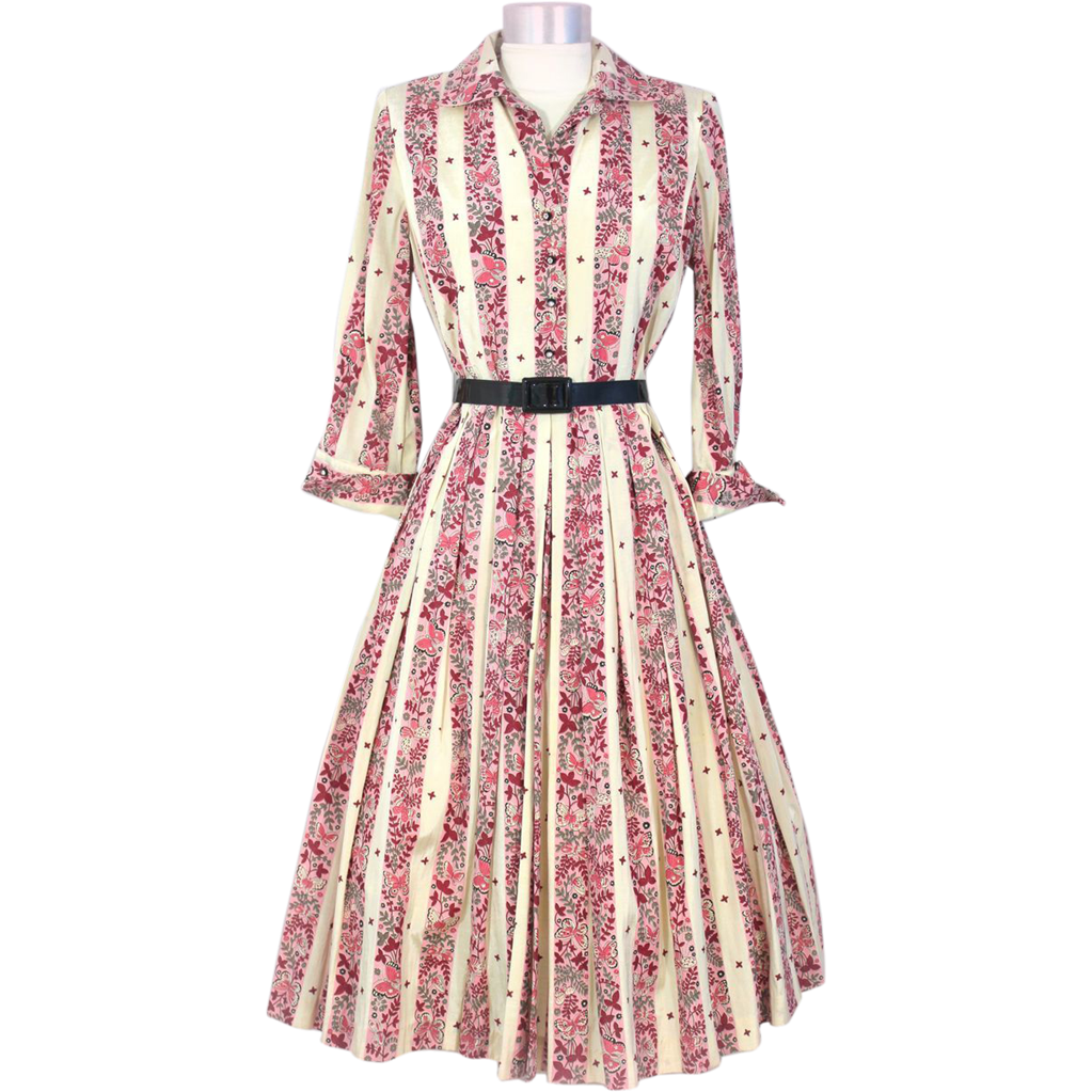 Vintage 1950s Puritan Pink Novelty Print Butterflies & Blossoms Silk ...