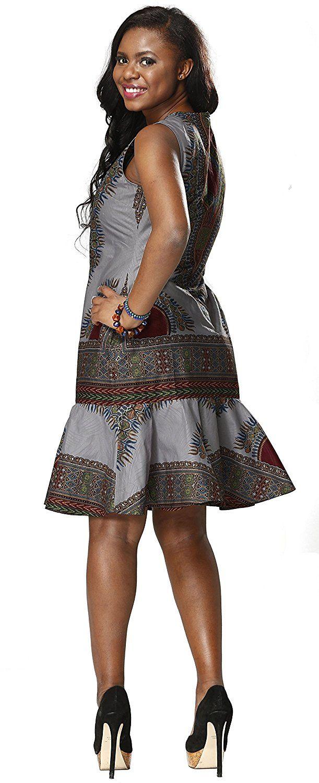 Shenbolen Woman African Print Dress Dashiki Traditional Dress Party Dresses  (Medium 614cccf26cea