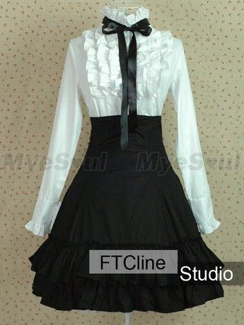 ✿ Fem!Cas ✿ Lolita style skirt and blouse: I like the shape of the skirt and the length, would switch the black bow for a blue one - $90