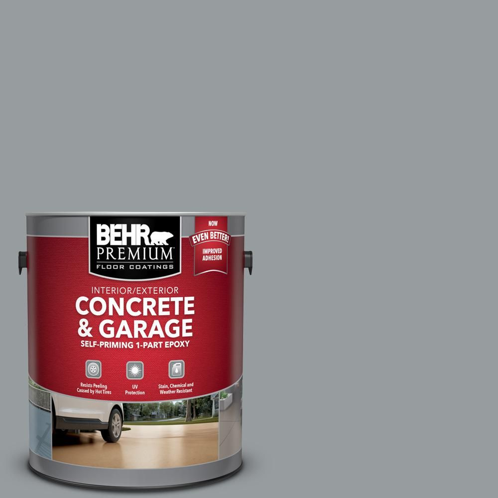 Behr Premium 1 Gal N500 4 Pencil Sketch Self Priming 1 Part Epoxy Satin Interior Exterior Concrete And Garage Floor Paint 90001 Garage Floor Paint Painted Floors Concrete