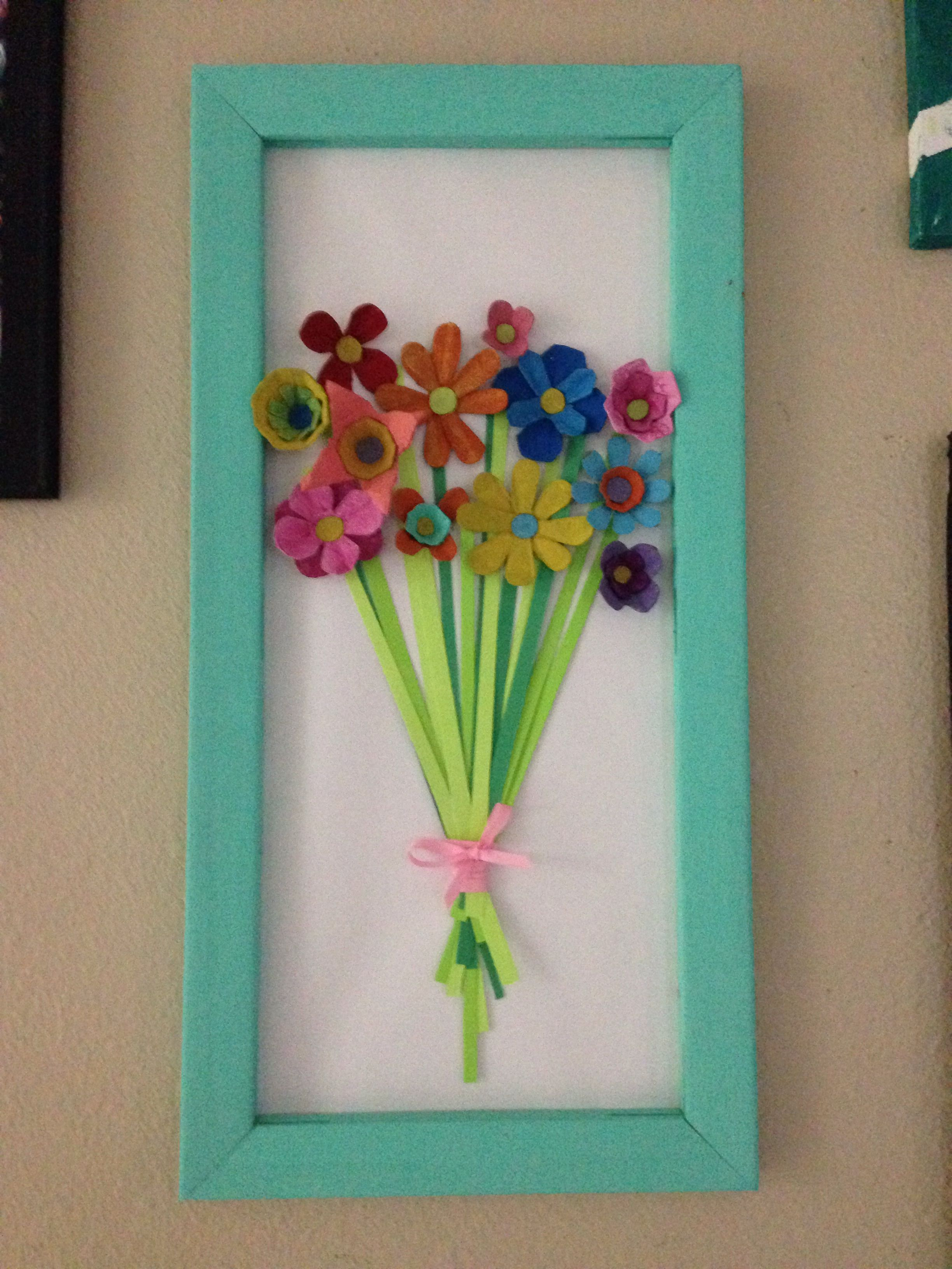 Egg Carton Flowers In Recycled Canvas Frame Egg Carton Crafts