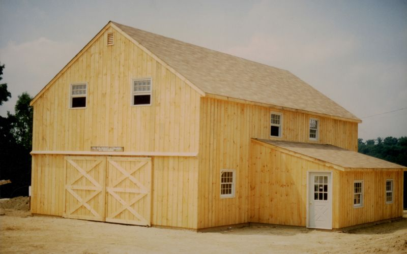 28 39 x 40 39 two story pole barn with 12 39 x 20 39 shed roof for Two story pole building plans