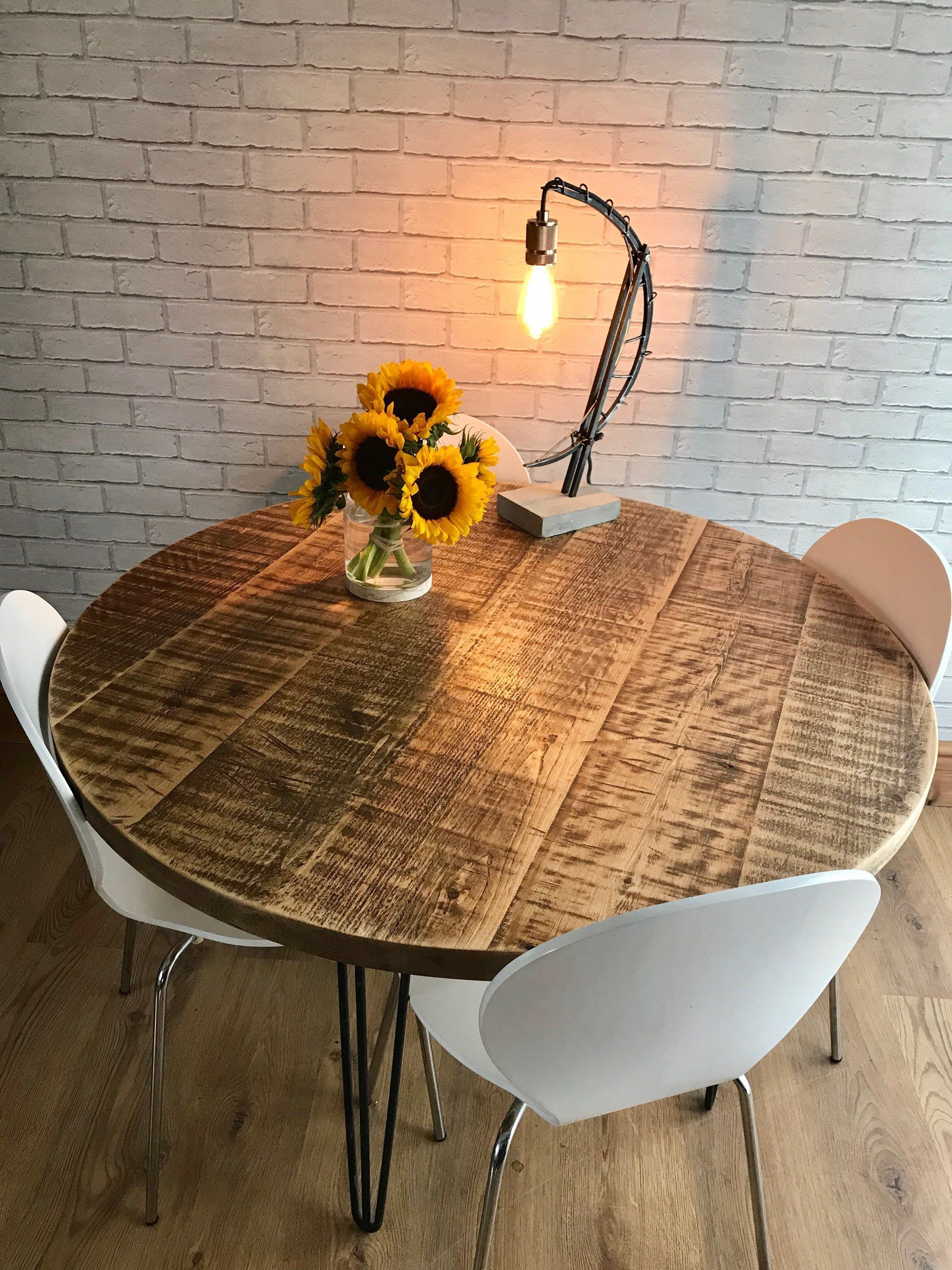 Round Rustic Industrial Hairpin Dining Table Fast Dispatch Times Dining Table Rustic Industrial Dining Table Dining Table Rustic