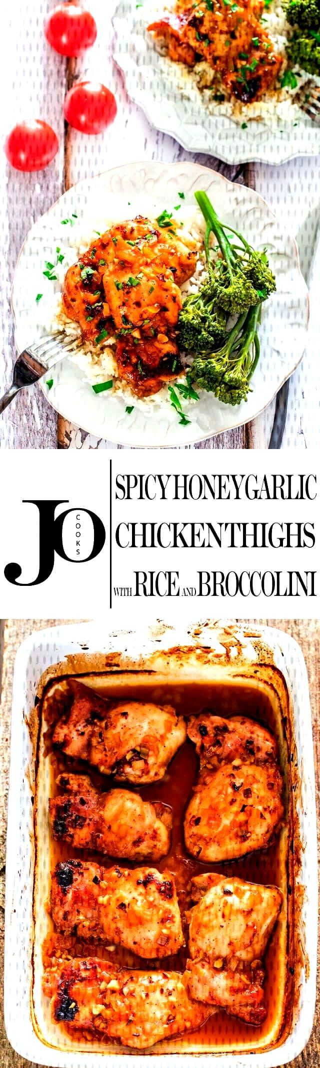 Spicy Honey Garlic Chicken Thighs - the combination of Sriracha sauce, honey and garlic is the perf