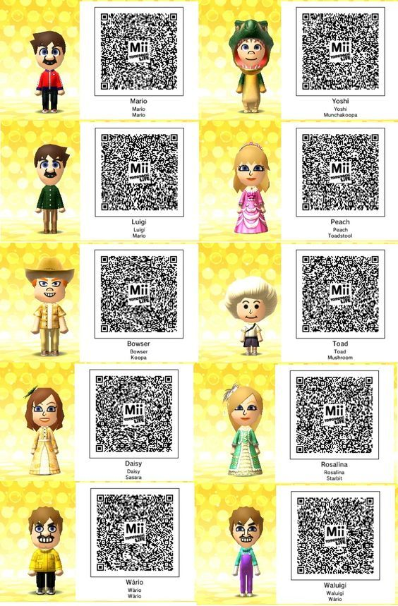Anime Mii Characters 3ds : Tomodachi qr codes life super mario