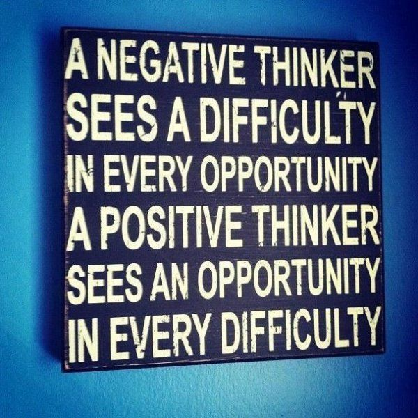 A Negative Thinker Sees Difficulty In Every Opportunity. A