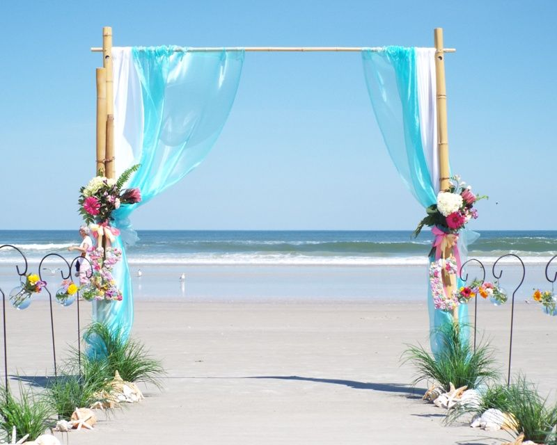 Two Post Bamboo Wedding Arch, White Linens, Aqua Organza, Starfish ...