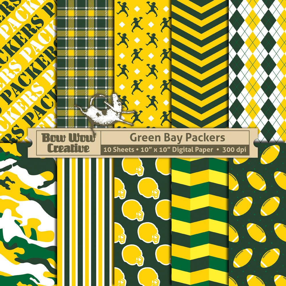 10 green bay packers pattern digital papers for scrapbooking 10 green bay packers pattern digital papers for scrapbooking invitations cards graphic design jeuxipadfo Choice Image