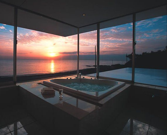 Relax in a luxurious tub with an awesome view!