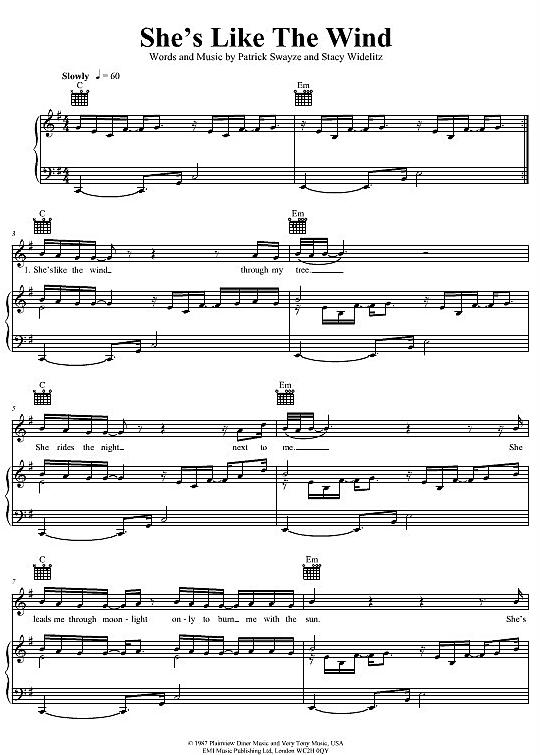 She's Like The Wind Patrick Swayze >>> KLICK auf die Noten ...
