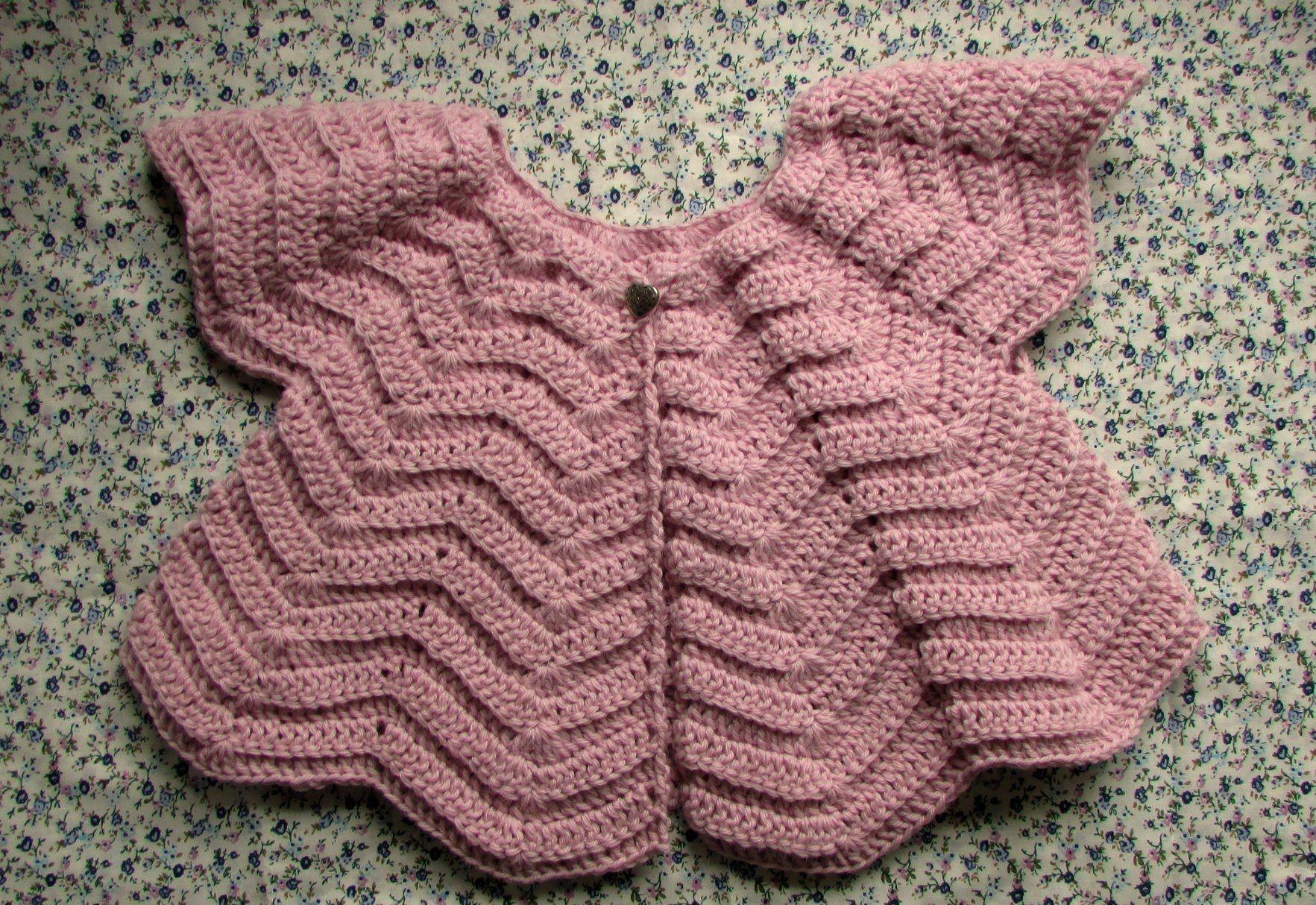 VERY EASY crochet baby / girl\'s cardigan - chevron cardigan ...