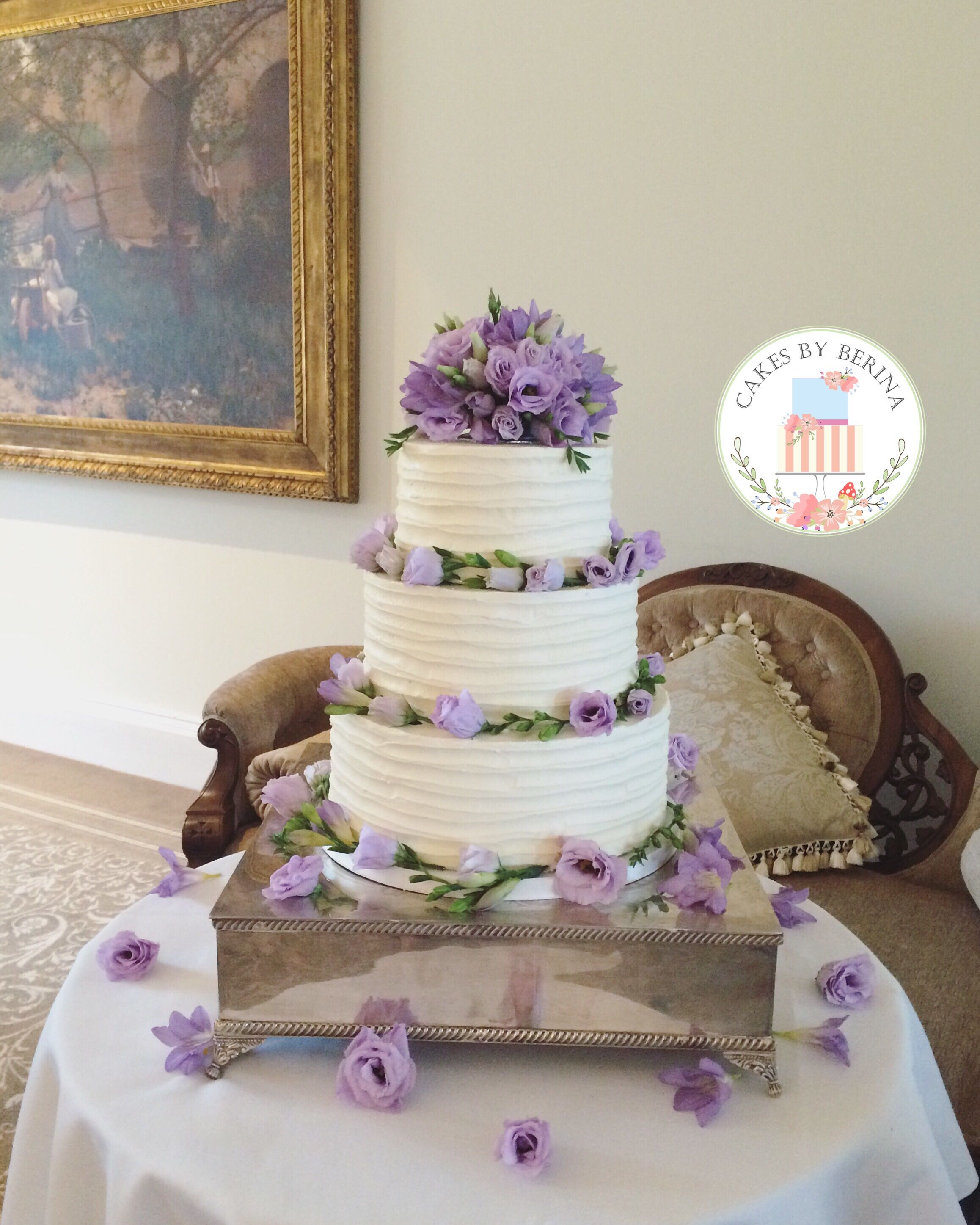 Rustic vintage semi wedding cake with buttercream ruffles
