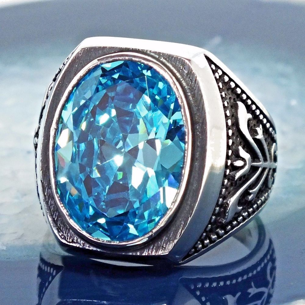 ca3c00a9649b7 925 Sterling Silver Mens Ring Swiss Blue Topaz unique handmade ...