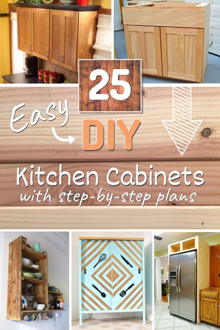 25 Easy DIY Kitchen Cabinets with Free Step-by-Step Plans -   23 diy projects Storage kitchen cabinets ideas