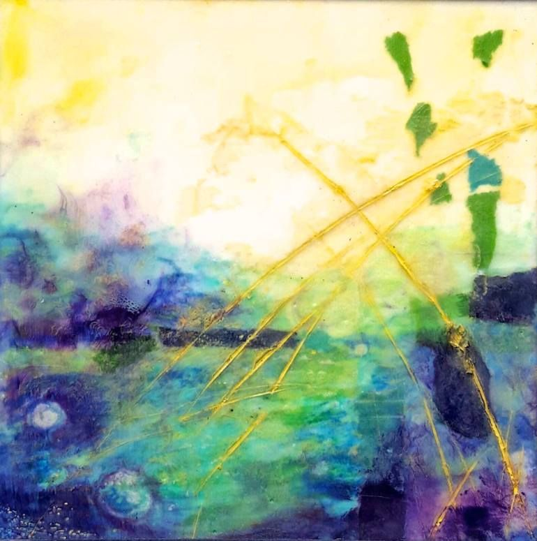 "Saatchi Art Artist Laura Spring; Painting, ""First Light Encaustic painting 8x8"" #art"