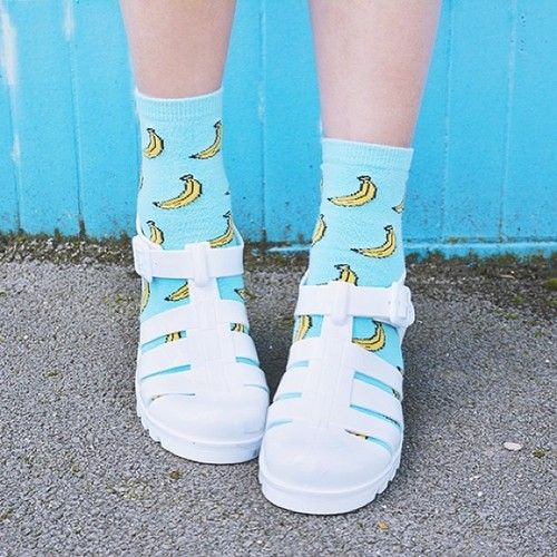 Banana socks are a summer essential.