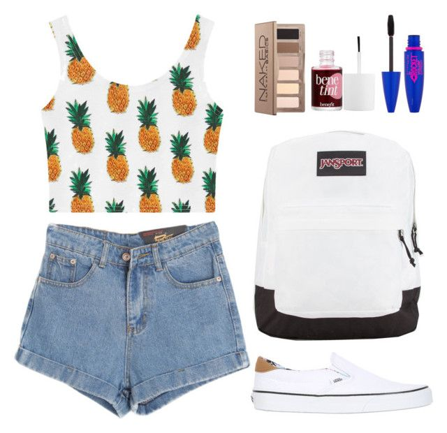 """☼summer☼"" by frizzypop ❤ liked on Polyvore featuring Chicnova Fashion, Vans, JanSport, Urban Decay, Benefit and Maybelline"