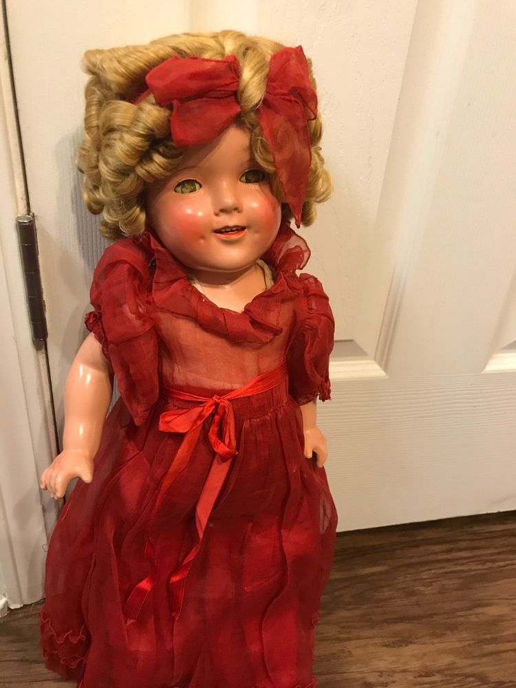 """VINTAGE SHIRLEY TEMPLE COMPOSITE DOLL 20"""" #Ideal 