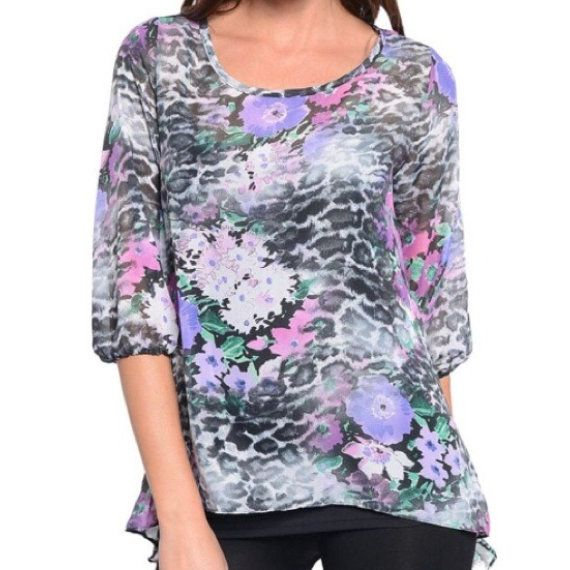 Adorable loose fit sheer printed top - brand new without tags - did not come with any attached