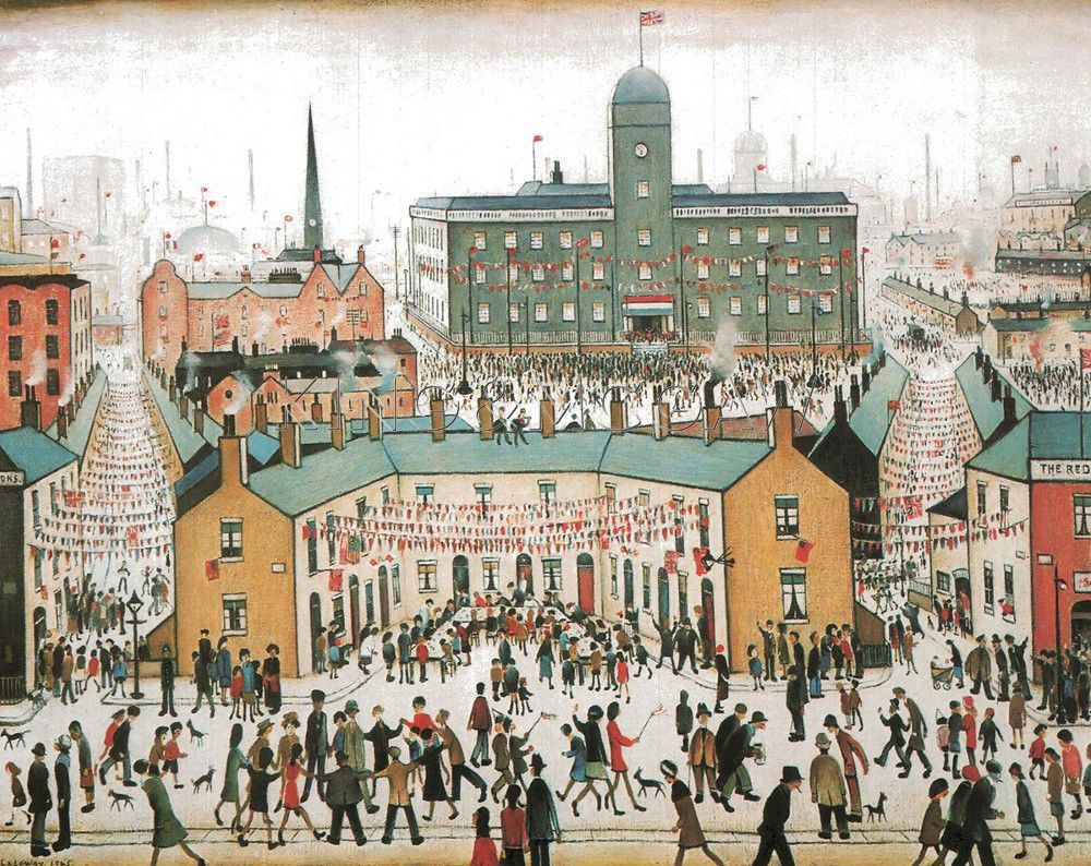 V.E. Day Celebrations Art Print by L S Lowry at King & McGaw