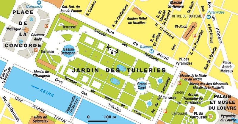 Plan de paris jardin des tuileries paris la ville o for Les jardins de la ville paris
