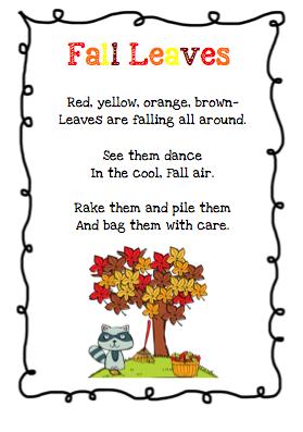Image result for fall poem for kindergarten