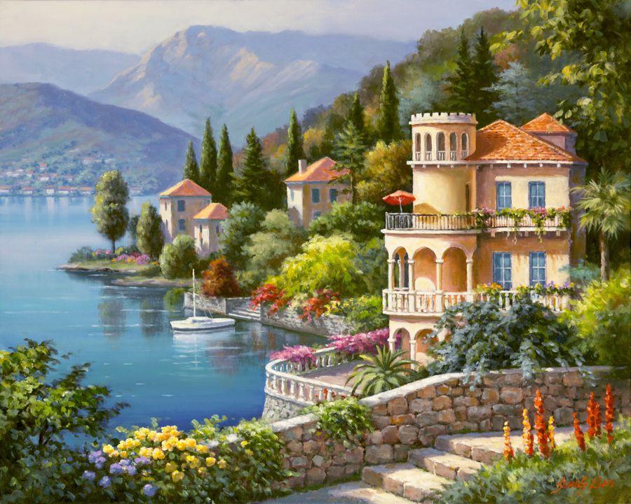 "Lienzo ""Lakeside Villa"" del artista Sung Kim, nacido en Seúl, Corea del Sur."