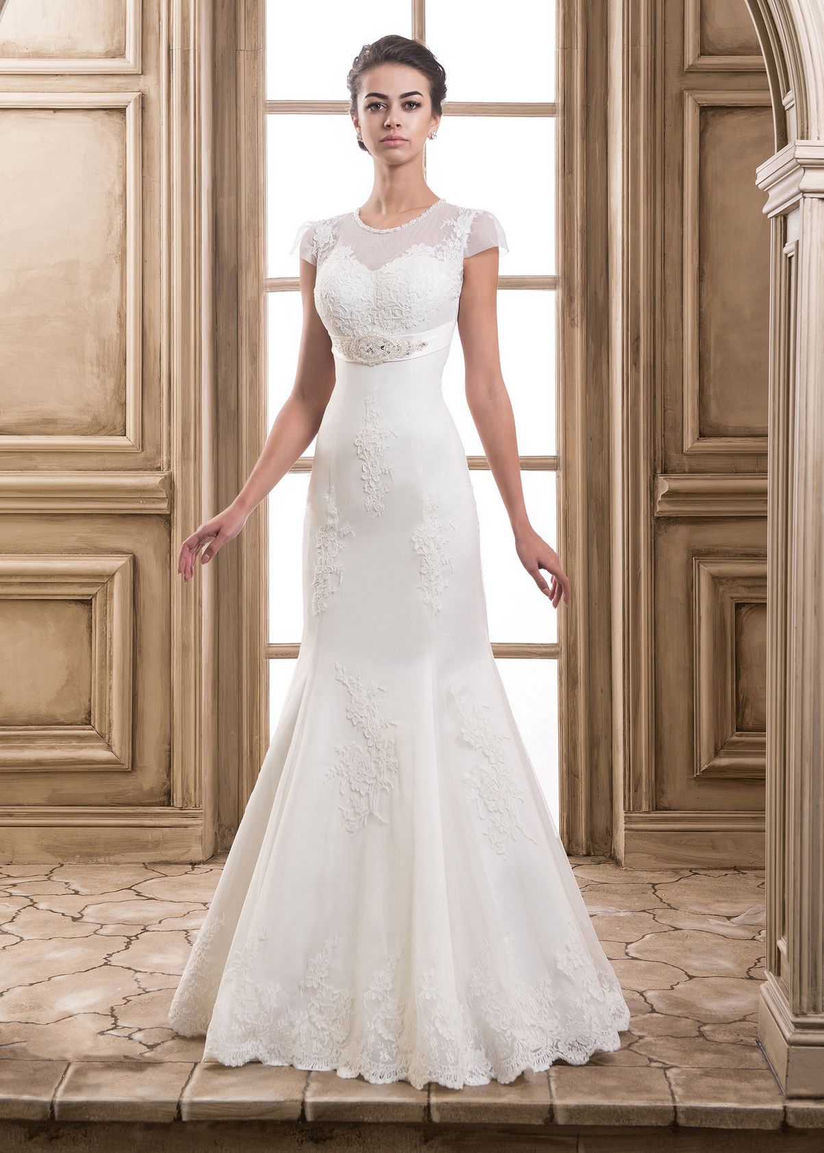 Cap Sleeves Lace Tulle Empire Waist Wedding Dress in 2020